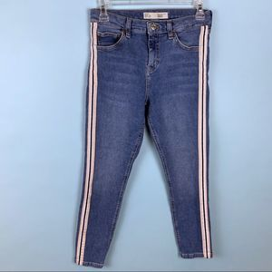 Topshop Moto Stripe High Rise Light Jamie Jeans 28